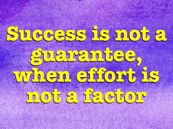 Success is not a guarantee, when effort is not a factor